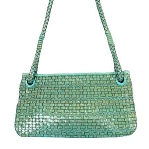 VINTAGE Fossil Turquoise Jade Woven Leather Bag